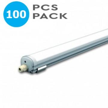 ПРОМО - 100xLED Влагозащитено тяло AL/PC G-Серия1200mm 36W Неутрално Бяла Светлина