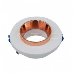 GU10 Fitting Gypsum Metal White Plaster With Rose Gold, Round, Recessed