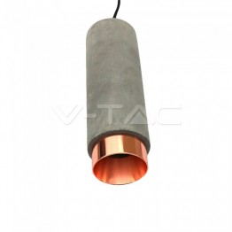 GU10 Fitting Gypsum Concrete Pendant Metal With Matt Rose Gold Bottom
