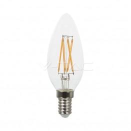 LED Крушка - 4W Filament E14 Кендъл Кръстосан Спирала Топло Бяла Светлина