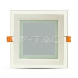 12W LED Панел Стъклено Тяло - Квадратен Модул Бяла Светлина