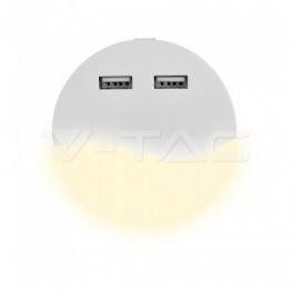 LED Нощна Лампа за Контакт USB Кръг 3000K