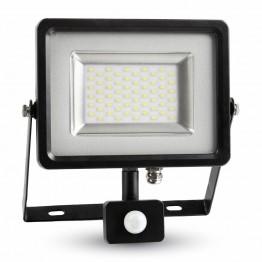 30W LED Прожектор Сензор SMD Черно Тяло Топло Бяла Светлина