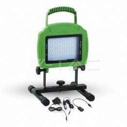 20W LED Презаредим Прожектор SLIM Зелено Тяло Бяла Светлина