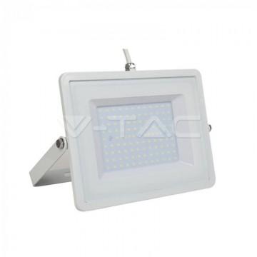 100W LED Прожектор Бяло Тяло Бял Кабел SMD Бяла Светлина
