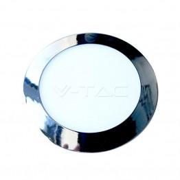 6W LED Панел Хром Кръг Топло Бяла Светлина