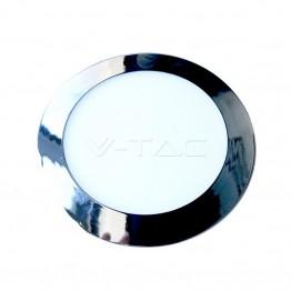 6W LED Панел Хром Кръг Бяла Светлина