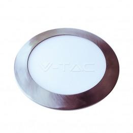 6W LED Панел Сатен Никел Кръг Бяла Светлина