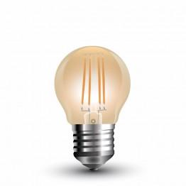 LED Крушка - 4W Filament E27 G45 Amber Топло Бяла Светлина