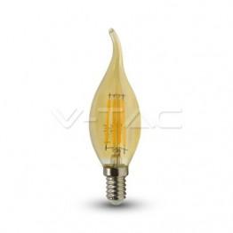LED Крушка - 4W Filament E14 Кендъл Amber Пламък Топло Бяла Светлина