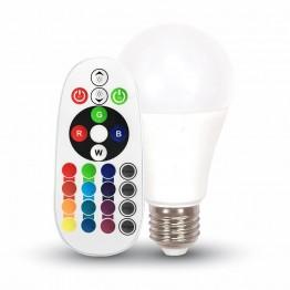 LED Крушка - 6W E27 A60 RGB С Дистанционно Бяла Светлина