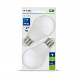 LED Крушка - 11W E27 A60 Термо Пластик Неутрална Светлина 2бр.