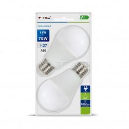 LED Крушка - 11W E27 A60 Термо Пластик Бяла Светлина 2бр.