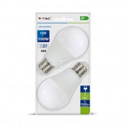 LED Крушка - 15W E27 A60 Термо Пластик Бяла Светлина 2бр.