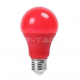 LED Крушка - 9W E27 Пластик Червена