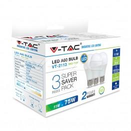 LED Крушка - 11W E27 A60 Термо Пластик Бяла светлина 3Бр/Сет
