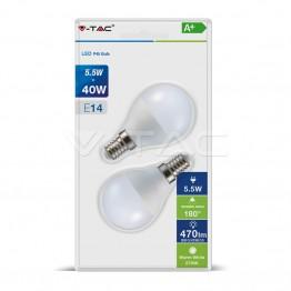 LED Крушка - 5.5W E14 P45 Неутрална светлина 2Бр/Сет