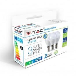 LED Крушка - 5.5W E14 P45 Топло Бяла Светлина 3Бр/Сет