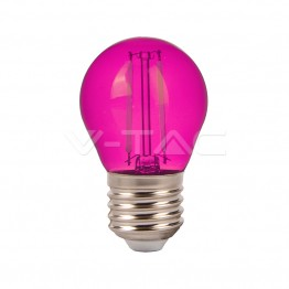 LED Крушка – 2W Filament E27 G45 Розов Цвят