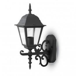 Фенер За Стена Четиристен Черен Малък На Горе