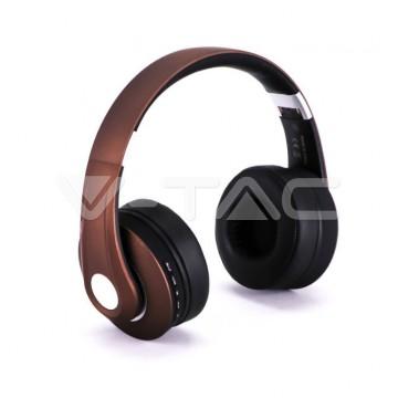 Bluetooth Слушалки Регулируеми 500mAh Кафяви