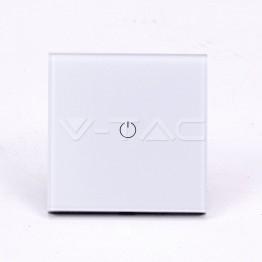WIFI SMART Touch Ключ Единичен Бял Съвместим с Amazon Alexa & Google Home