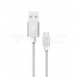 1м. Микро USB Кабел Сребрист Серия