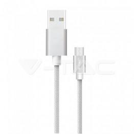 1м. Тип C USB Кабел Сребрист Серия