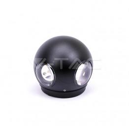 4W Стенна Лампа Черно Тяло Кръг 3000К IP65