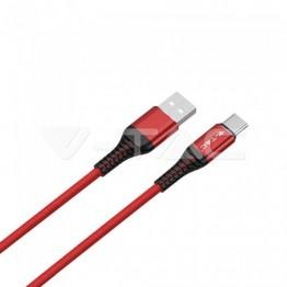 1м. Тип C USB Кабел Червен Серия