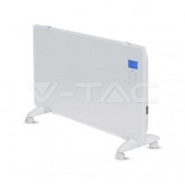 2000W Конвектор Стъкло Алуминиев Нагряващ Елемент Бяла IP24 Дистанционно Колелца