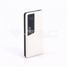 10000 mAh Външна Батерия Дисплей USB Тип C Бяла